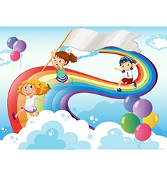 Kids playing above the rainbow with an empty vector