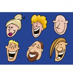 set of jolly faces vector image