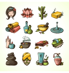 Spa sketch icons colored vector
