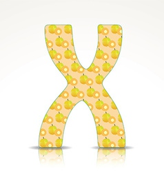 The letter x of the alphabet made of ximenia vector