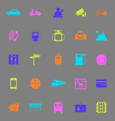Land transport related color icons on gray vector