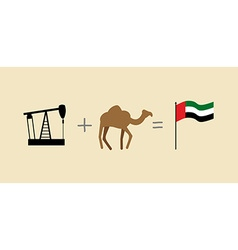 Oil rig and camel symbols of united arab emirates vector