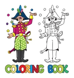 Funy general-juggler coloring book vector