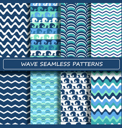 Set of blue and white sea wave seamless patterns vector