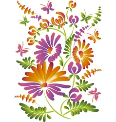 Folkstyle flowers vector