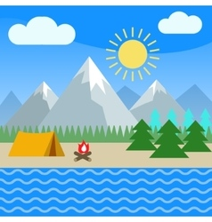 Summer mountain landscape tent and bonfire vector image