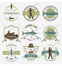 Fishing clubs colorful emblems vector
