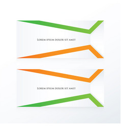 Abstract banner orange green vector