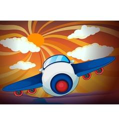 Aeroplane and sun rays vector