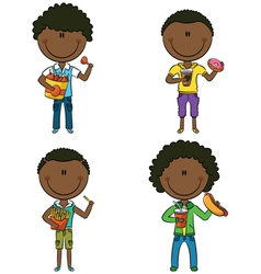 African-American boys with junk foods vector image vector image