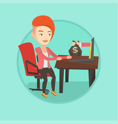 businesswoman earning money from online business vector image vector image