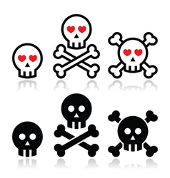 Cartoon skull with bones and hearts icon se vector