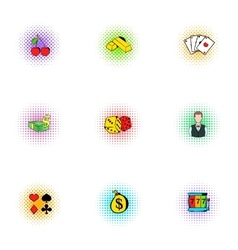 Casino game icons set pop-art style vector image vector image