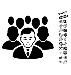 Crowd icon with copter tools bonus vector