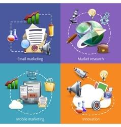 Digital marketing 4 flat icons square vector image vector image
