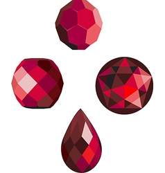 Faceted ruby red beads vector