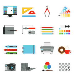 graphic and computer design different tools for vector image vector image