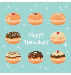 Hanukkah doughnut traditional jewish food vector
