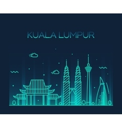 Kuala lumpur trendy line art vector