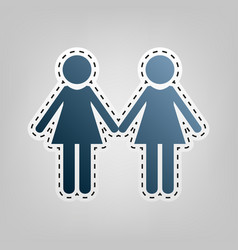 Lesbian family sign blue icon with vector