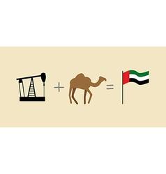 Oil rig and camel symbols of united arab emirates vector