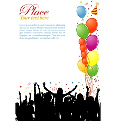 party frame with balloons vector image vector image