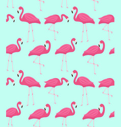 Pink flamingo seamless pattern summer tropical vector