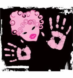 pink girl vector image