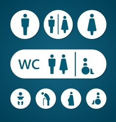 Restroom male female pregnant cripple oldster sign vector