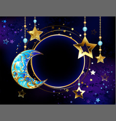 Round banner with jewelry crescent moon vector