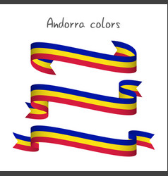 Set of three ribbons andorra tricolor vector