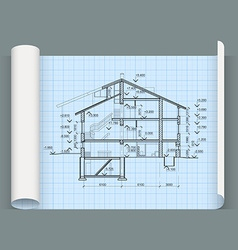 Sheet in expanded form with drawing house vector