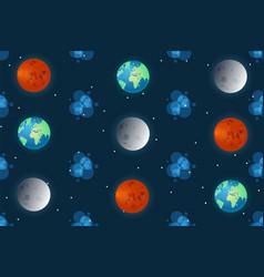 Space pattern cartoon planet design concept vector