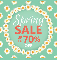 Spring sale banner with daisy chain and text on vector