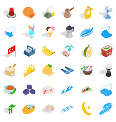 Turkey fruit icons set isometric style vector