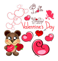 Valentine s day teddy bear vector