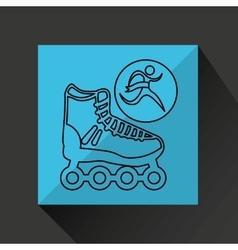 Winner silhouette sport roller skate icon vector