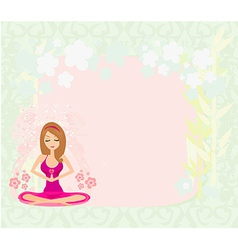 Yoga girl in lotus position abstract frame vector image vector image