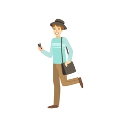 Young guy modern street look with hat vector