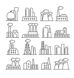 Factory and plant thin line icons vector