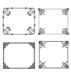Square frame labels set ornamental vintage vector