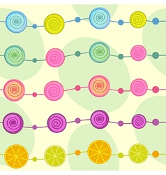Seamless pattern with garland of lollipop vector