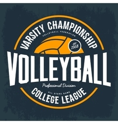 College tournament emblem for volleyball sport vector