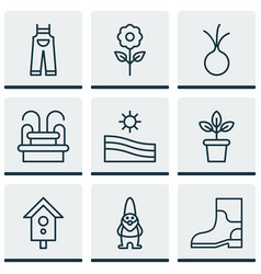 Set of 9 farm icons includes water monument vector