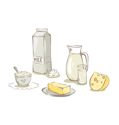 Milk and dairy products - set vector