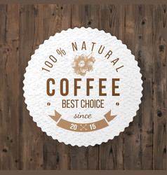 Round coffee emblem with type design vector