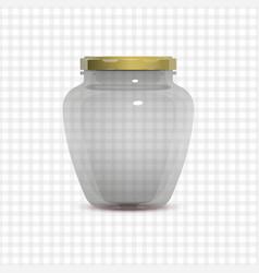 Empty transparent glass jam jar vector