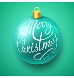 Merry christmas bauble with lettering design vector