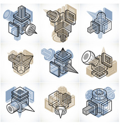 3d engineering collection of abstract shapes vector