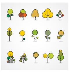 Trendy and beautiful set of flat trees and forest vector